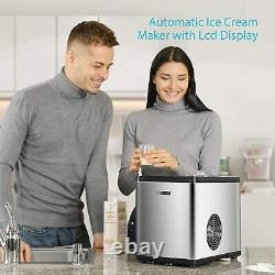 1.6 Quart Automatic Ice Cream Maker Machine with Compressor and LCD Display 110V