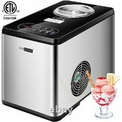 1.6Qt Automatic Ice Cream Maker Machine with Compressor LCD Display, 3 Mode, Timer