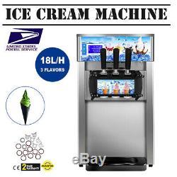 18L/H 3-flavor Soft Ice Cream Maker Frozen Yogurt Making Machine US Plug FDA CE