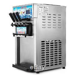 18L/H Commercial Soft Ice Cream Machine 3 Flavors Frozen Yogurt Cone Maker
