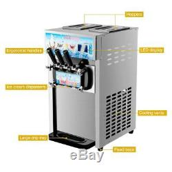 18L/H Commercial Soft Serve Ice Cream Maker 3 Flavors SS Silver Ice Cream 1200W