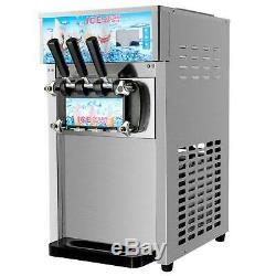 18L/H Commercial Soft Serve Ice Cream Maker Silver 3 Flavors Ice Cream Machine