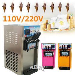 18L/H Frozen 3 Flavor Commercial Yogurt Soft Serve Cones Ice Cream Maker Machine