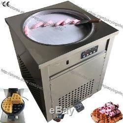 19.7 Electric Rolled Fried Ice Cream Yogurt Roll Maker + Classic Waffle Machine