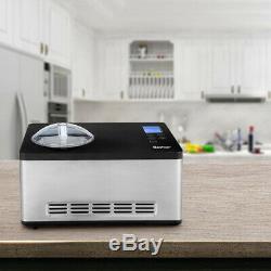 2.1 Quart DIY Stainless Steel Ice Cream Gelato Maker LCD Timer Control Easy Pro