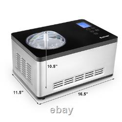 2.1 Quart Ice Cream Maker Frozen Machine Stainless With LCD Timer Control Kitchen