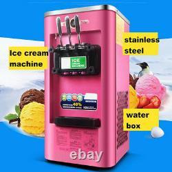 220V Commercial Soft Ice Cream 3 Flavor Steel Frozen Yogurt Cone Maker Machine