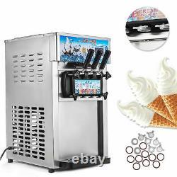 3 Flavor Soft Ice Cream Machine Commercial Frozen Yogurt Cone Maker 1200W