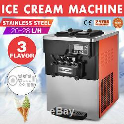 3 Flavor Soft Ice Cream Maker Frozen Yogurt Machine 28L/H LED Display