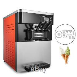 3 Flavors Commercial Frozen Yogurt Soft Ice Cream Cones Maker Machine 20-28L/H
