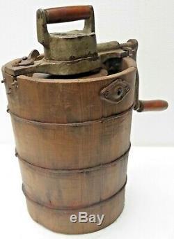 Antique Ice Cream Maker Freezer hand crank manual churn machine pine wood bucket