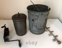 Antique New Standard Triple Action Crank Ice Cream Maker Freezer Mixer Galvanize