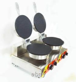 Commercial 110V Electric Nonstick Dual Ice Cream Waffle Cone Baker Maker Machine