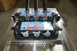 Commercial 110V Soft Serve Ice Cream Machine Countertop 3Flavor Ice Cream Maker