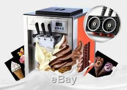 Commercial 3 Flavor Soft Ice Cream Machine Soft Ice Cream Cones Maker aa1