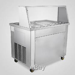 Commercial Fried Ice Cream Machine 304 Stainless Steel Frozen Yogurt Roller