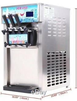 Commercial Ice Cream Machine Ice Cream Maker Yogurt 3 Flavor New Condition