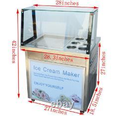 Commercial Ice Cream Maker Thai Fried Ice Cream Yogurt Roll Making Machine 110V