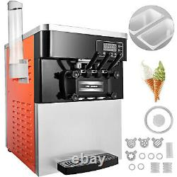 Commercial Soft Ice Cream Machine 20-28L LED Display Ice Cream Maker 3 Flavors