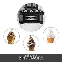 Commercial Soft Ice Cream Making Machine 3-Flavor Countertop Soft Yogurt Maker