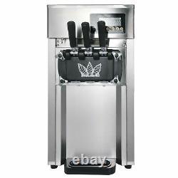 Commercial Soft Serve Ice Cream Machine Stainless Frozen Yogurt Maker 3 Flavor