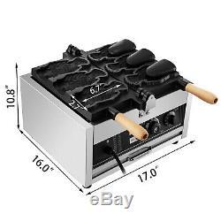 Commercial Taiyaki Maker Ice Cream Waffle Maker Electric Fish Waffle 3pcs Teflon