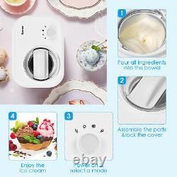 Costway Ice Cream Maker 1.1 QT Automatic Frozen Dessert Machine with Spoon White