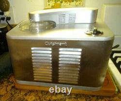 Cuisinart 1.5 Quart Commercial Ice Cream Maker ICE-50 BCWS Brushed Metal + Lid