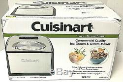 Cuisinart Ice Cream and Gelato Maker Stainless Steel 1.5 Qt Compressor ICE-100