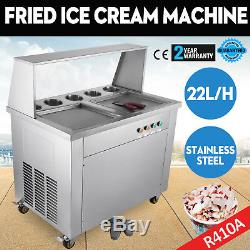 Double Pan Fried Ice Cream Machine Thai Roll Ice Cream 22L/H Yogurt Making