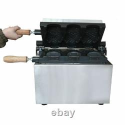Electric 2KW Commercial Nonstick 3pcs Fish Waffle Ice Cream Taiyaki Maker