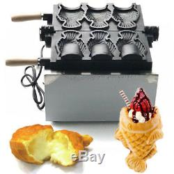 Electric 3x Fish Waffle Ice Cream Taiyaki Maker Baker 2KW Nonstick Commercial US