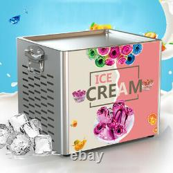 Electric Commercial Ice Cream Roll Maker Yogurt Ice Cream Roll Machine Pan 110V