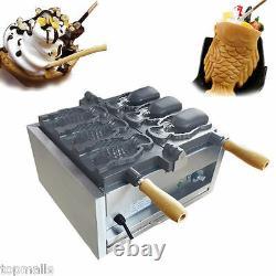 Fish Ice Cream Taiyaki Maker Machine electric open mouth taiyaki Machine 3pcs