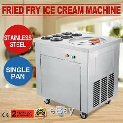 Fried Ice Cream Maker Single Pan Ice Cream Machine for Yogurt with Six Buckets
