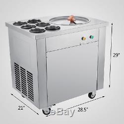 Fried Ice Cream Maker Single Pot Fry Yogurt Machine 6 Buckets 110v 740w