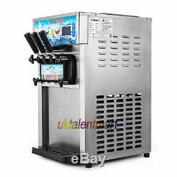 Frozen Soft Serve Ice Cream Maker Machine 4.75Gal/H 18L/H Mix Flavors 3 Head USA