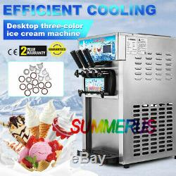Frozen Soft Serve Ice Cream Maker Machine Mix Flavors 3 Head 4.75Gal/H 18L/H USA
