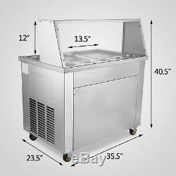 Hot double pans Thai fried ice cream machine, ice cream roll maker with 5 boxes
