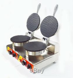 Ice Cream Cone Making Machine Egg Roll Waffle Maker Dual Baker Iron 110V