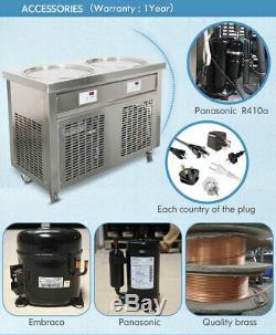 Kolice ETL NSF UL 22(55CM) Double round pan fried ice cream machine, auto defros