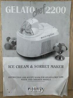 Magimix Gelato Chef 2200 Ice Cream & Sorbet Maker in White with Manual & Book
