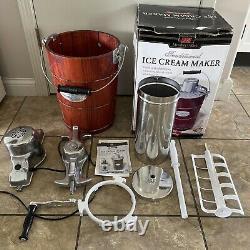 Members Mark 6 Quart Hand-Crank AND Electric Motor Ice Cream Freezer Maker WORKS