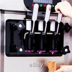 Microcomputer Control LED Soft ice cream making machine Maker 3 flavors 2000W CE