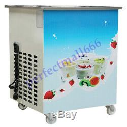 Movable Fried Ice Cream Roll Machine Milk Yogurt Maker Frozen With 36cm Steel Pan
