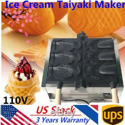 NEW Commercial Nonstick Electric 3pc Fish Waffle Ice Cream Taiyaki Maker 110V US