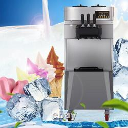 New Commercial Soft Ice Cream Maker Three Flavors(2 Single+1 Mixed) Machine-USA
