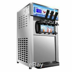 New Soft Serve Commercial Ice Cream Yogurt Machine Maker 3 Flavors Twist Desert