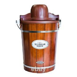 Nostalgia Electric Ice Cream Maker Vintage 6 Qt. Dark Wood Bucket