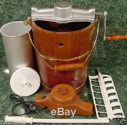 Old Fashioned ICE CREAM MAKER 6 Quart Electric or Hand Operated Wood Bucket NEW